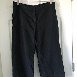 JJill washed black linen cropped pants